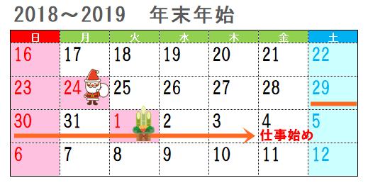 2018年末2019年始休業日